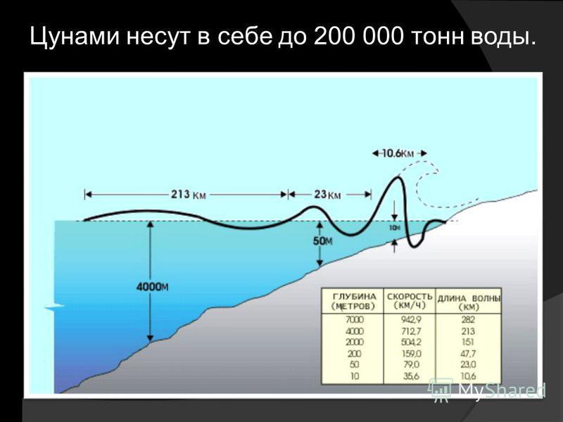 Цунами несут в себе до 200 000 тонн воды.