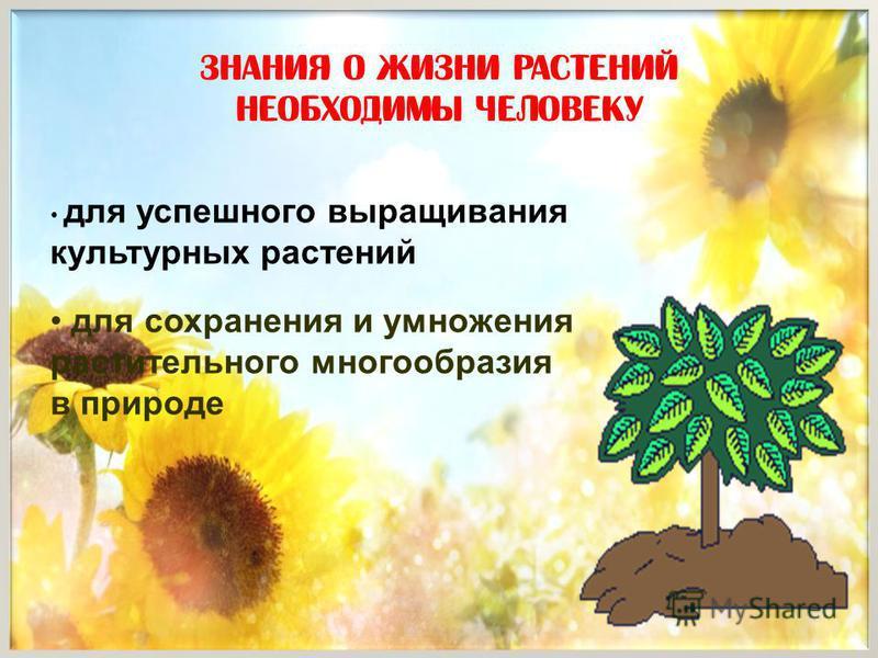 Знания о жизни растений необходимы человеку для успешного выращивания культурных растений для сохранения и умножения растительного многообразия в природе