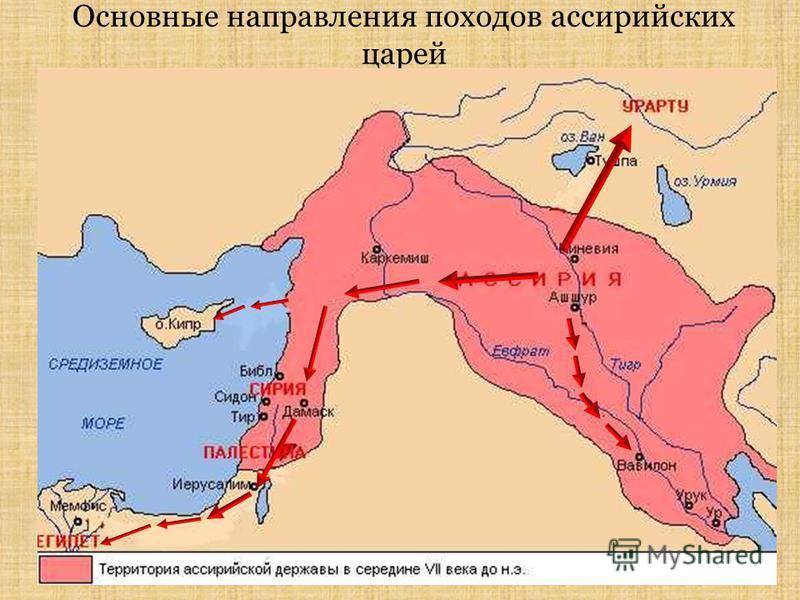 Основные направления походов ассирийских царей