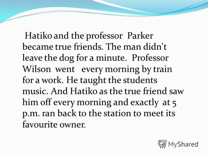 Hatiko and the professor Parker became true friends. The man didn't leave the dog for a minute. Professor Wilson went every morning by train for a work. He taught the students music. And Hatiko as the true friend saw him off every morning and exactly