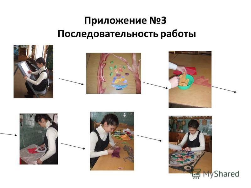 Приложение 3 Последовательность работы