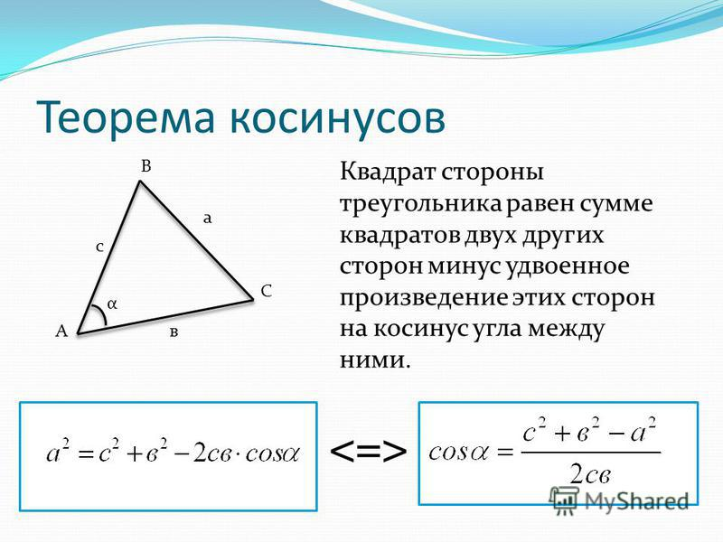 Теорема косинусов Квадрат стороны треугольника равен сумме квадратов двух других сторон минус удвоенное произведение этих сторон на косинус угла между ними. В С А с а в α