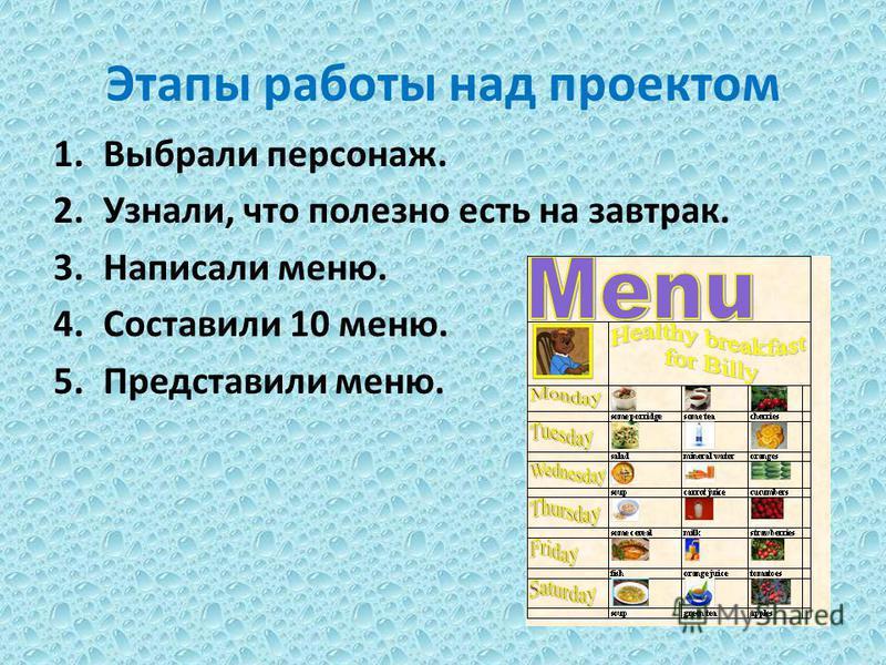 Этапы работы над проектом 1. Выбрали персонаж. 2.Узнали, что полезно есть на завтрак. 3. Написали меню. 4. Составили 10 меню. 5. Представили меню.