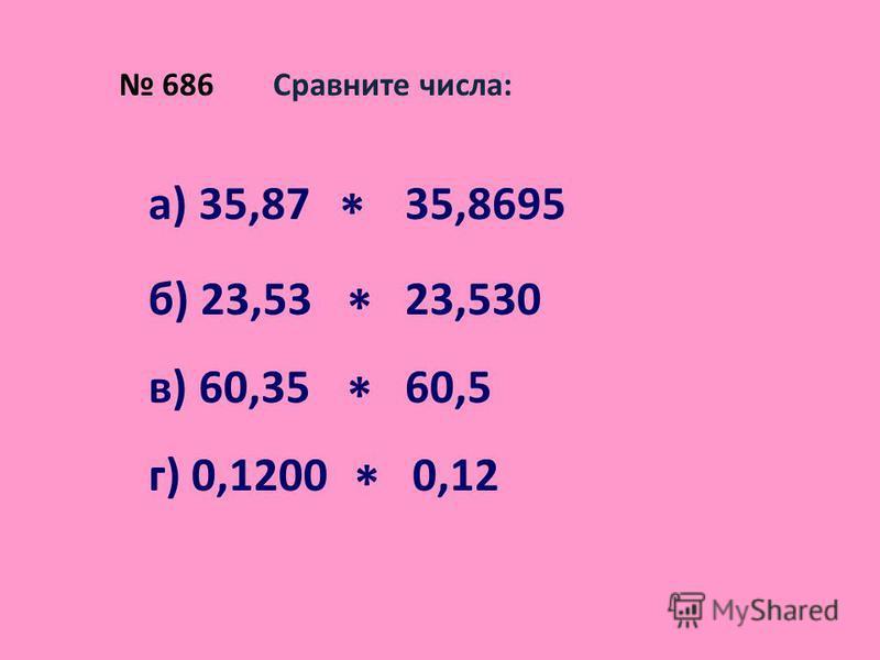 686 Сравните числа: а) 35,87 * 35,8695 б) 23,53 * 23,530 в) 60,35 * 60,5 г) 0,1200 * 0,12