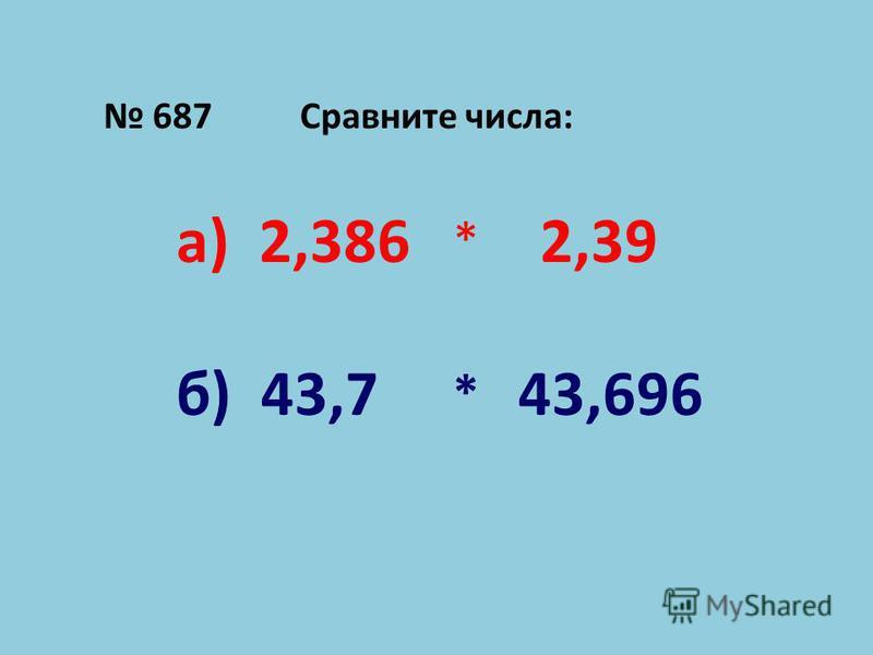 687 Сравните числа: а) 2,386 * 2,39 б) 43,7 * 43,696