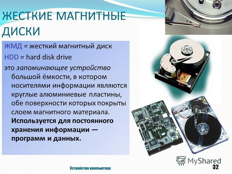 ЖЕСТКИЕ МАГНИТНЫЕ ДИСКИ ЖМД = жесткий магнитный диск HDD = hard disk drive это запоминающее устройство большой ёмкости, в котором носителями информации являются круглые алюминиевые пластины, обе поверхности которых покрыты слоем магнитного материала.