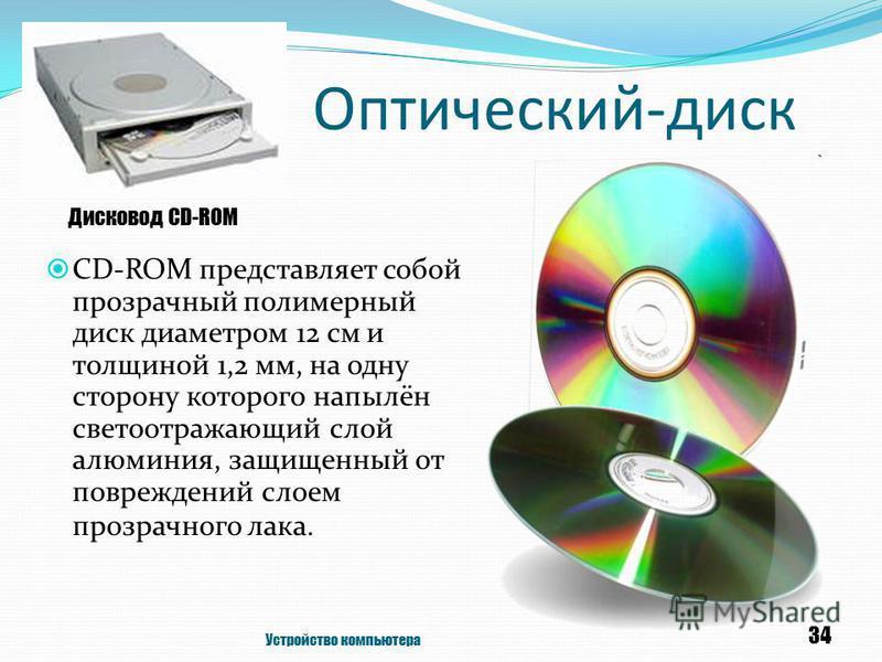 Оптический-диск CD-ROM представляет собой прозрачный полимерный диск диаметром 12 см и толщиной 1,2 мм, на одну сторону которого напылён светоотражающий слой алюминия, защищенный от повреждений слоем прозрачного лака. Устройство компьютера 34 Дисково