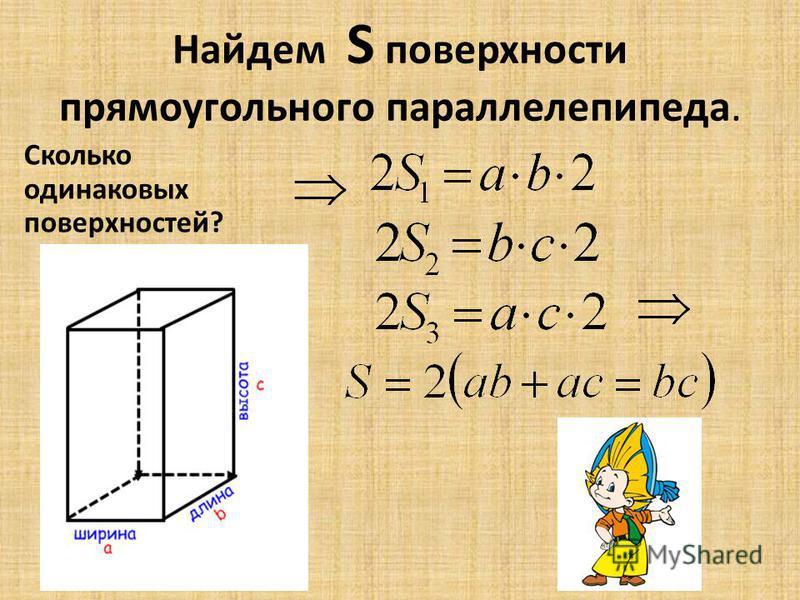 Найдем S поверхности прямоугольного параллелепипеда. Сколько одинаковых поверхностей?