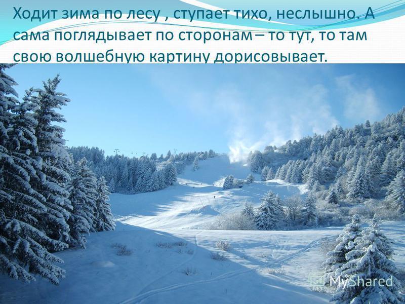 Ходит зима по лесу, ступает тихо, неслышно. А сама поглядывает по сторонам – то тут, то там свою волшебную картину дорисовывает.