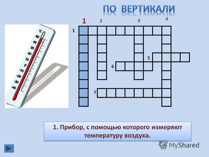 1 23 4 5 6 7 1. Прибор, с помощью которого измеряют температуру воздуха. 1