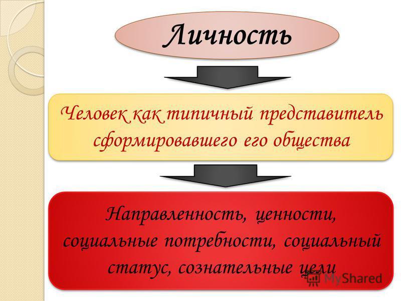 Личность Человек как типичный представитель сформировавшего его общества Направленность, ценности, социальные потребности, социальный статус, сознательные цели