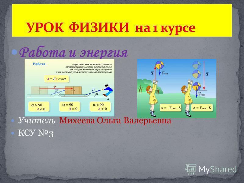 Работа и энергия Учитель Михеева Ольга Валерьевна КСУ 3