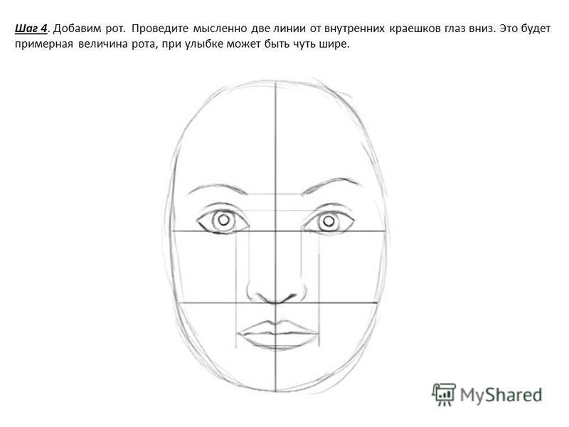 Шаг 4. Добавим рот. Проведите мысленно две линии от внутренних краешков глаз вниз. Это будет примерная величина рота, при улыбке может быть чуть шире.