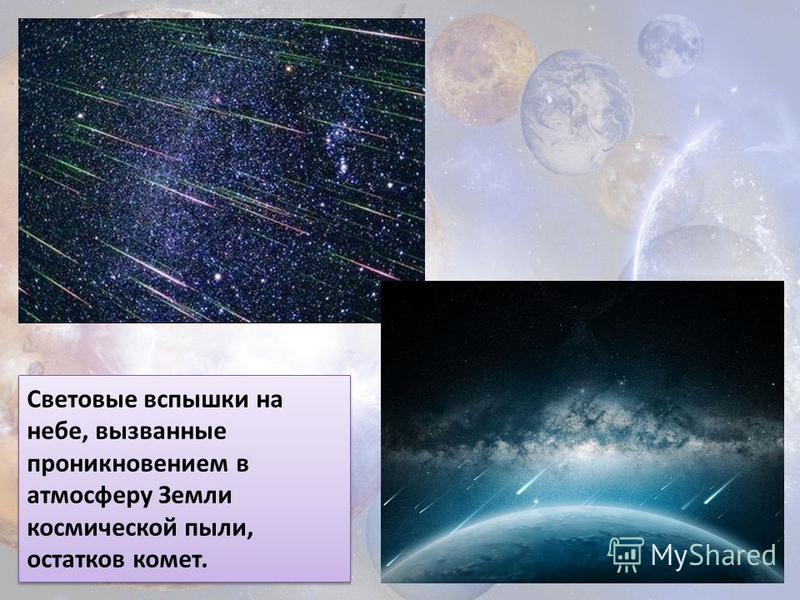 Световые вспышки на небе, вызванные проникновением в атмосферу Земли космической пыли, остатков комет.