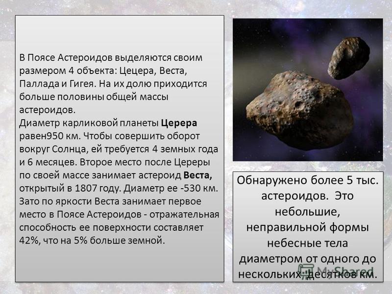 В Поясе Астероидов выделяются своим размером 4 объекта: Цецера, Веста, Паллада и Гигея. На их долю приходится больше половины общей массы астероидов. Диаметр карликовой планеты Церера равен 950 км. Чтобы совершить оборот вокруг Солнца, ей требуется 4