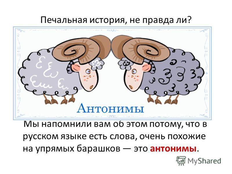 Печальная история, не правда ли? Мы напомнили вам об этом потому, что в русском языке есть слова, очень похожие на упрямых барашков это антонимы.