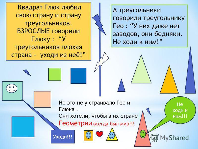 Квадрат Глюк любил свою страну и страну треугольников. ВЗРОСЛЫЕ говорили Глюку : У треугольников плохая страна - уходи из неё! А треугольники говорили треугольнику Гео : У них даже нет заводов, они бедняки. Не ходи к ним! Но это не у страивало Гео и