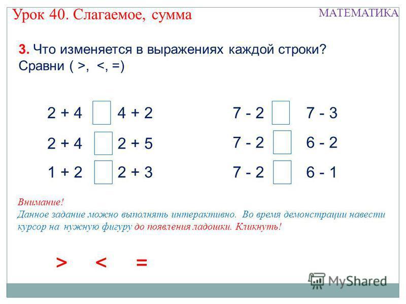 2 + 4 1 + 2 4 + 2 2 + 5 2 + 3 7 - 2 7 - 3 6 - 2 6 - 1 3. Что изменяется в выражениях каждой строки? Сравни ( >, < = >< = >< Урок 40. Слагаемое, сумма Внимание! Данное задание можно выполнять интерактивно. Во время демонстрации навести курсор на нужну