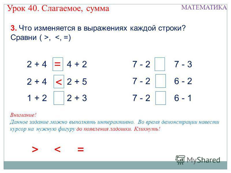 2 + 4 1 + 2 4 + 2 2 + 5 2 + 3 7 - 2 7 - 3 6 - 2 6 - 1 3. Что изменяется в выражениях каждой строки? Сравни ( >, < = >< = > Урок 40. Слагаемое, сумма МАТЕМАТИКА Внимание! Данное задание можно выполнять интерактивно. Во время демонстрации навести курсо