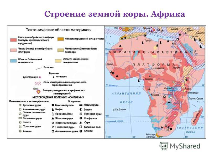 Строение земной коры. Африка
