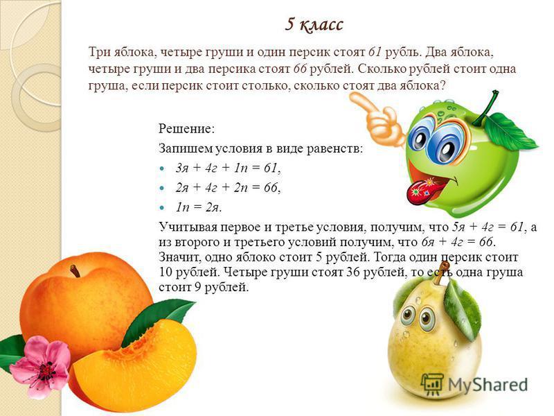 Три яблока, четыре груши и один персик стоят 61 рубль. Два яблока, четыре груши и два персика стоят 66 рублей. Сколько рублей стоит одна груша, если персик стоит столько, сколько стоят два яблока? Решение: Запишем условия в виде равенств: 3 я + 4 г +