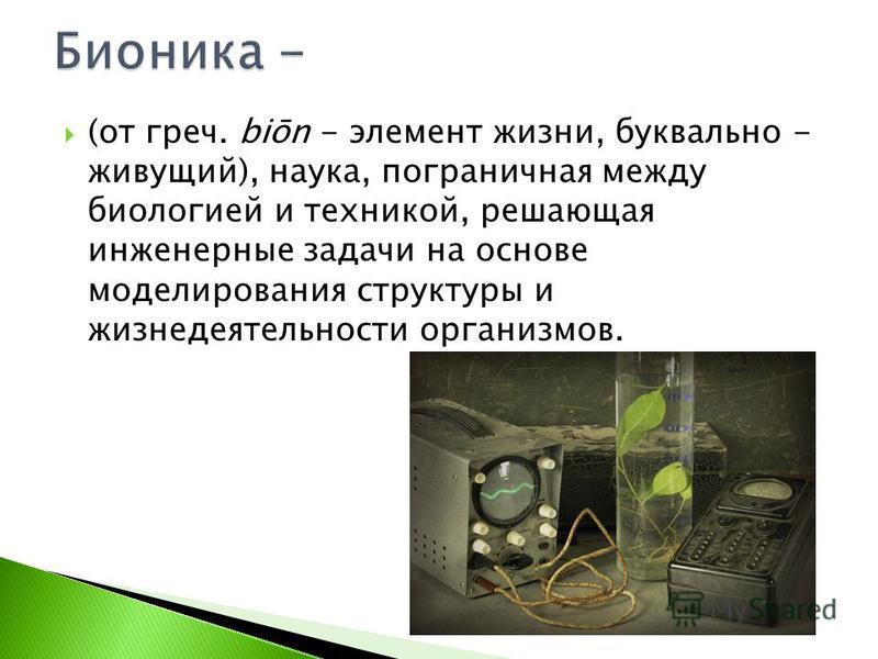 (от греч. biōn - элемент жизни, буквально - живущий), наука, пограничная между биологией и техникой, решающая инженерные задачи на основе моделирования структуры и жизнедеятельности организмов.