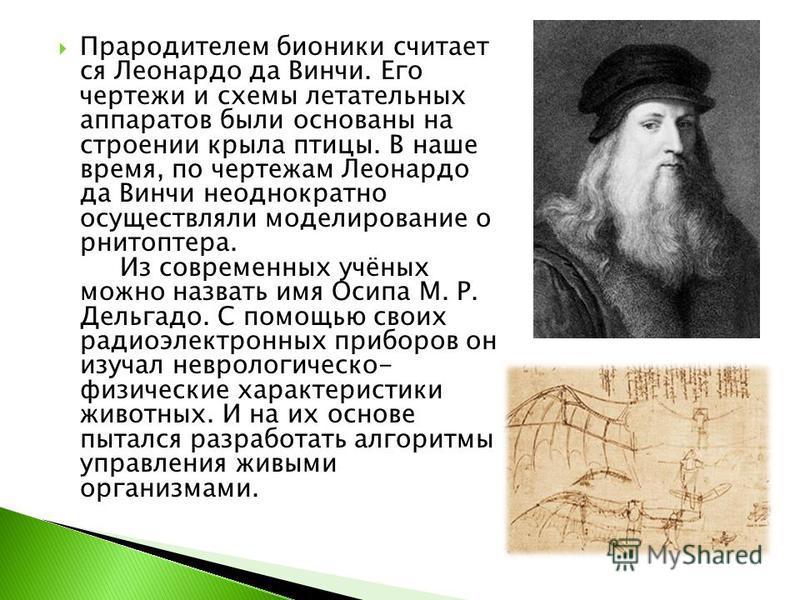 Прародителем бионики считает ся Леонардо да Винчи. Его чертежи и схемы летательных аппаратов были основаны на строении крыла птицы. В наше время, по чертежам Леонардо да Винчи неоднократно осуществляли моделирование орнитоптера. Из современных учёных