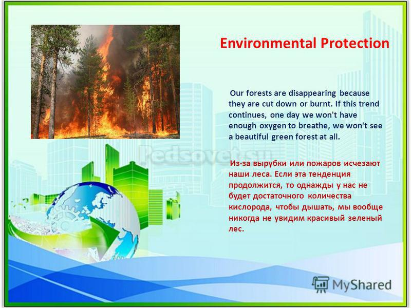 Environmental Protection Our forests are disappearing because they are cut down or burnt. If this trend continues, one day we won't have enough oxygen to breathe, we won't see a beautiful green forest at all. Из-за вырубки или пожаров исчезают наши л