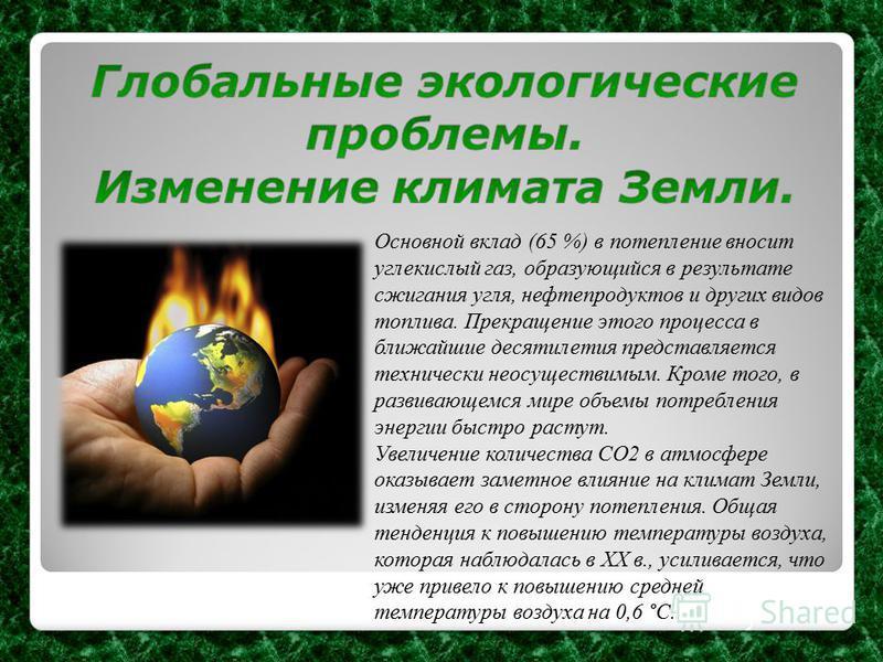 Основной вклад (65 %) в потепление вносит углекислый газ, образующийся в результате сжигания угля, нефтепродуктов и других видов топлива. Прекращение этого процесса в ближайшие десятилетия представляется технически неосуществимым. Кроме того, в разви