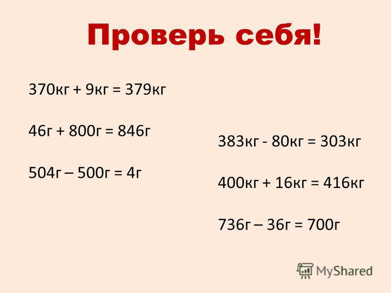 Проверь себя! 370 кг + 9 кг = 379 кг 46 г + 800 г = 846 г 504 г – 500 г = 4 г 383 кг - 80 кг = 303 кг 400 кг + 16 кг = 416 кг 736 г – 36 г = 700 г