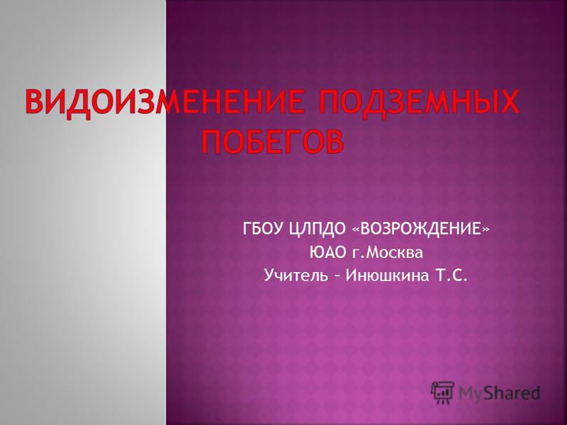 ГБОУ ЦЛПДО «ВОЗРОЖДЕНИЕ» ЮАО г.Москва Учитель – Инюшкина Т.С.