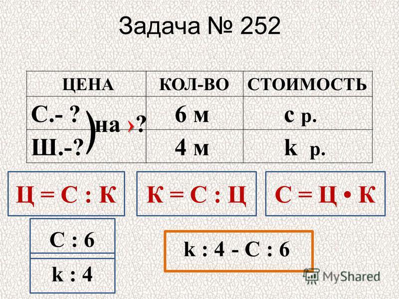 Задача 252 ЦЕНА КОЛ-ВОСТОИМОСТЬ С.- ? 6 м с р. Ш.-? 4 м k р. на ? Ц = С : КС = Ц КК = С : Ц С : 6 k : 4 - С : 6
