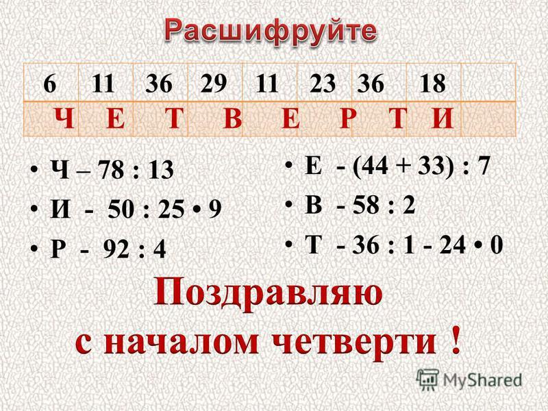 6 11 36 29 11 2336 18 Ч – 78 : 13 И - 50 : 25 9 Р - 92 : 4 Е - (44 + 33) : 7 В - 58 : 2 Т - 36 : 1 - 24 0 Ч Е Т В Е Р Т И