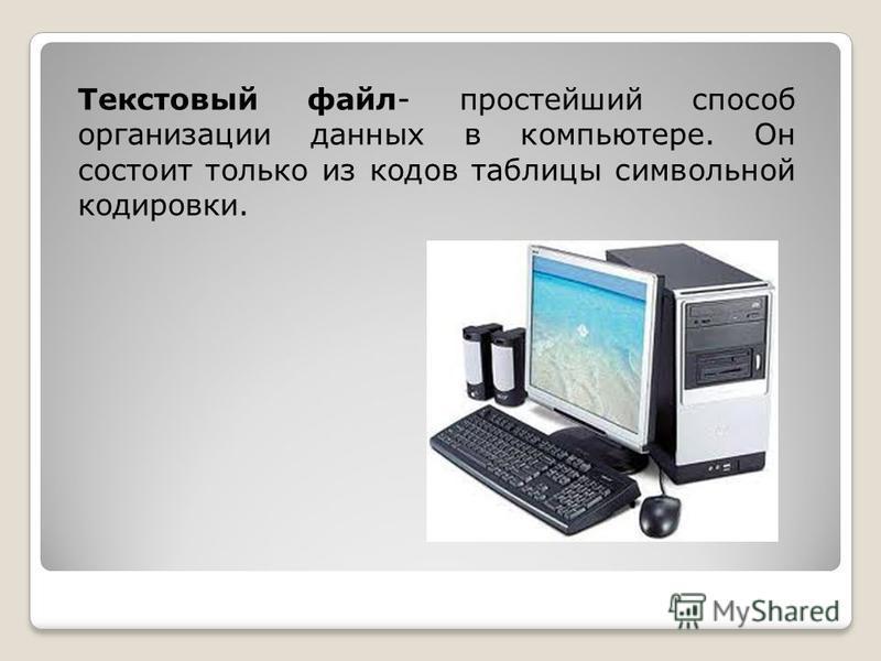 Текстовый файл- простейший способ организации данных в компьютере. Он состоит только из кодов таблицы символьной кодировки.