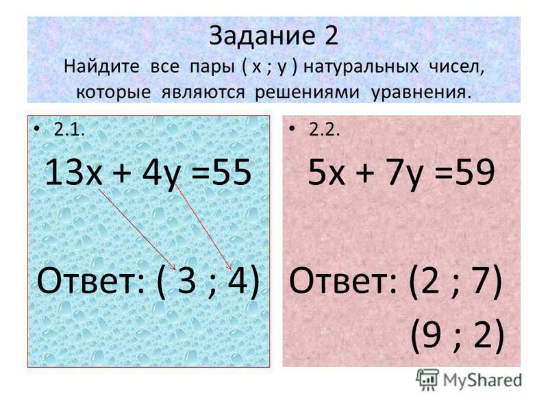 Задание 2 Найдите все пары ( х ; у ) натуральных чисел, которые являются решениями уравнения. 2.1. 13 х + 4 у =55 Ответ: ( 3 ; 4) 2.2. 5 х + 7 у =59 Ответ: (2 ; 7) (9 ; 2)