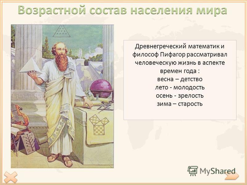 Древнегреческий математик и философ Пифагор рассматривал человеческую жизнь в аспекте времен года : весна – детство лето - молодость осень - зрелость зима – старость