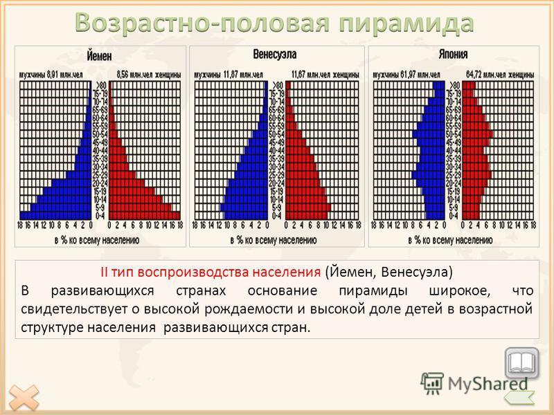 I тип воспроизводства населения (Япония) В развитых странах основание пирамиды узкое. Это свидетельствует о низкой доли детей в возрастной структуре населения и высокой доли пожилого населения. II тип воспроизводства населения (Йемен, Венесуэла) В ра