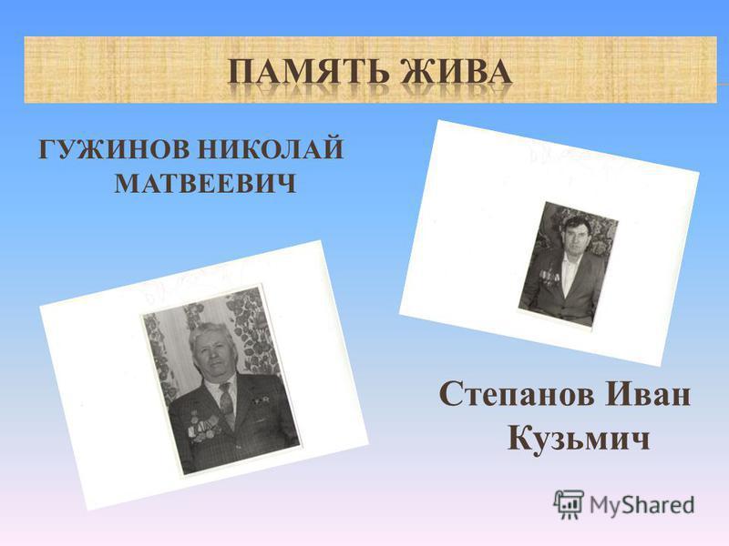 ГУЖИНОВ НИКОЛАЙ МАТВЕЕВИЧ Степанов Иван Кузьмич