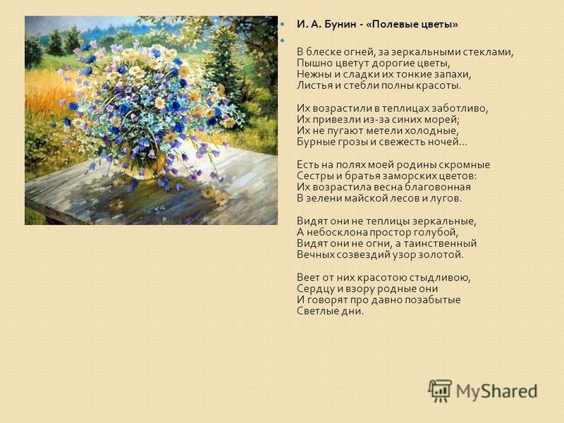 И. А. Бунин - « Полевые цветы » В блеске огней, за зеркальными стеклами, Пышно цветут дорогие цветы, Нежны и сладки их тонкие запахи, Листья и стебли полны красоты. Их возрастили в теплицах заботливо, Их привезли из - за синих морей ; Их не пугают ме