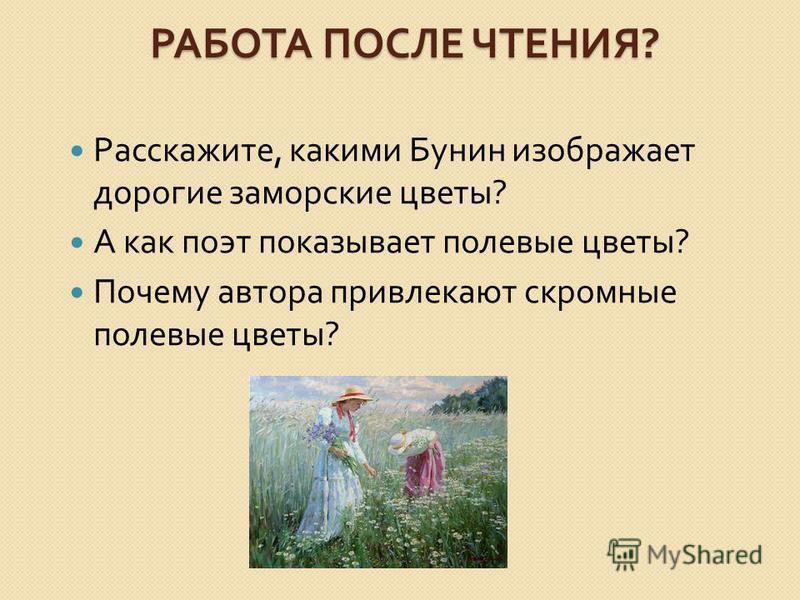 РАБОТА ПОСЛЕ ЧТЕНИЯ ? Расскажите, какими Бунин изображает дорогие заморские цветы ? А как поэт показывает полевые цветы ? Почему автора привлекают скромные полевые цветы ?