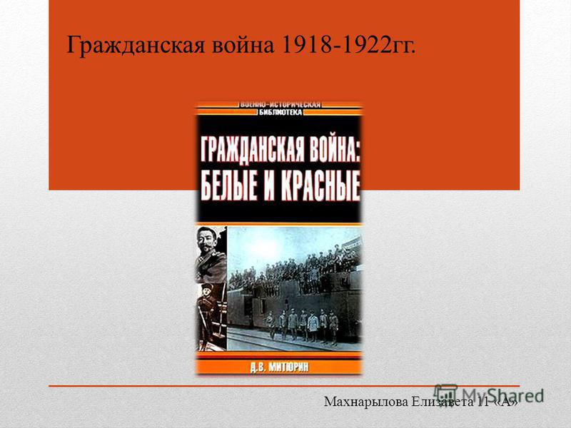 Гражданская война 1918-1922 гг. Махнарылова Елизавета 11 «А»
