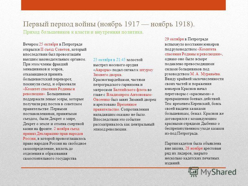 Первый период войны (ноябрь 1917 ноябрь 1918). Приход большевиков к власти и внутренняя политика. Вечером 25 октября в Петрограде открылся II съезд Советов, который впоследствии был провозглашён высшим законодательным органом. При этом члены фракций