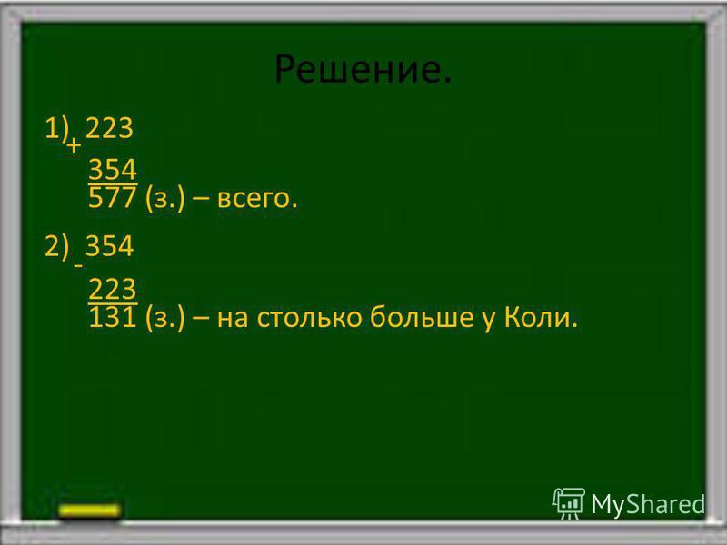 Краткая запись. В. – 223 з. ? з. На ? б. К. – 354 з.