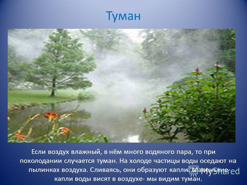 Туман Если воздух влажный, в нём много водяного пара, то при похолодании случается туман. На холоде частицы воды оседают на пылинках воздуха. Сливаясь, они образуют капли. Маленькие капли воды висят в воздухе- мы видим туман.