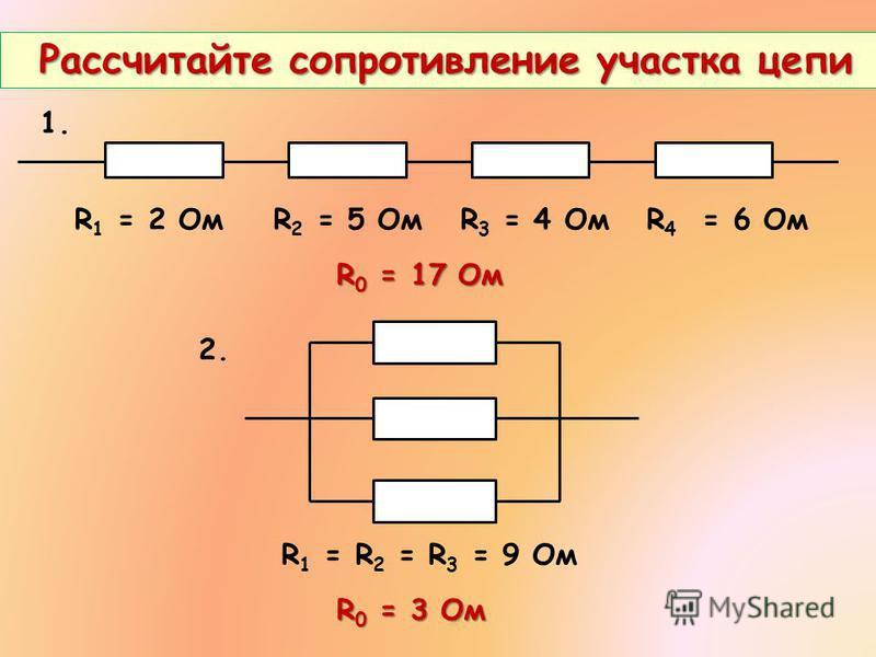 R 1 = 2 Ом R 2 = 5 Ом R 3 = 4 Ом R 4 = 6 Ом Рассчитайте сопротивление участка цепи Рассчитайте сопротивление участка цепи 1. 2. R 1 = R 2 = R 3 = 9 Ом R 0 = 17 Ом R 0 = 3 Ом