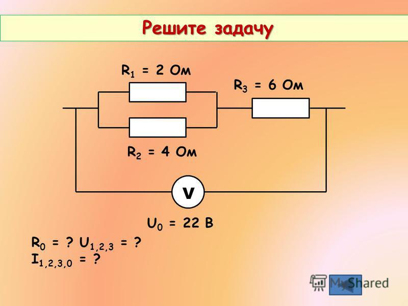 Решите задачу Решите задачу R 1 = 2 Ом R 2 = 4 Ом R 3 = 6 Ом V U 0 = 22 В R 0 = ? U 1,2,3 = ? I 1,2,3,0 = ?