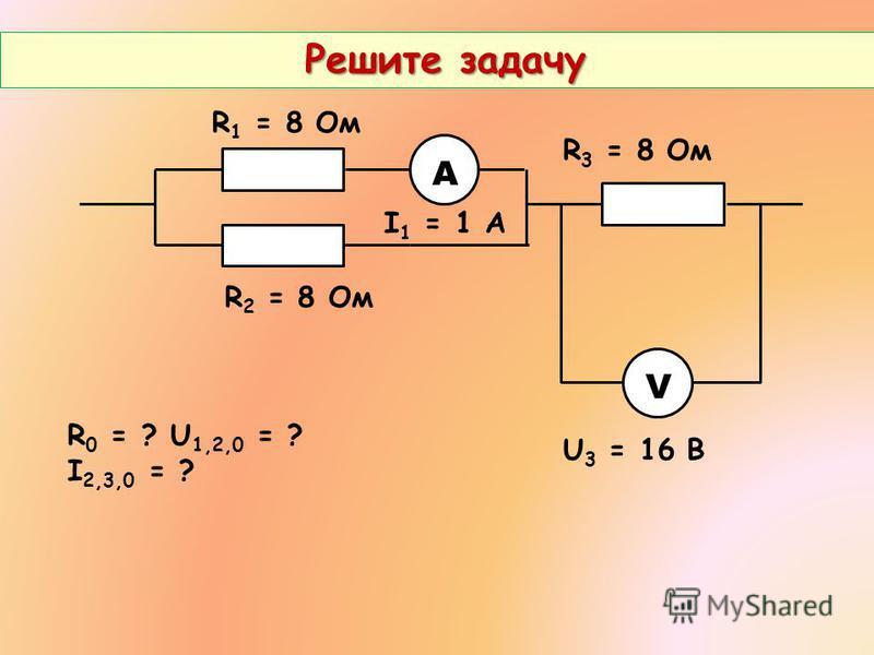 Решите задачу Решите задачу V А R 1 = 8 Ом R 2 = 8 Ом R 3 = 8 Ом U 3 = 16 В I 1 = 1 А R 0 = ? U 1,2,0 = ? I 2,3,0 = ?