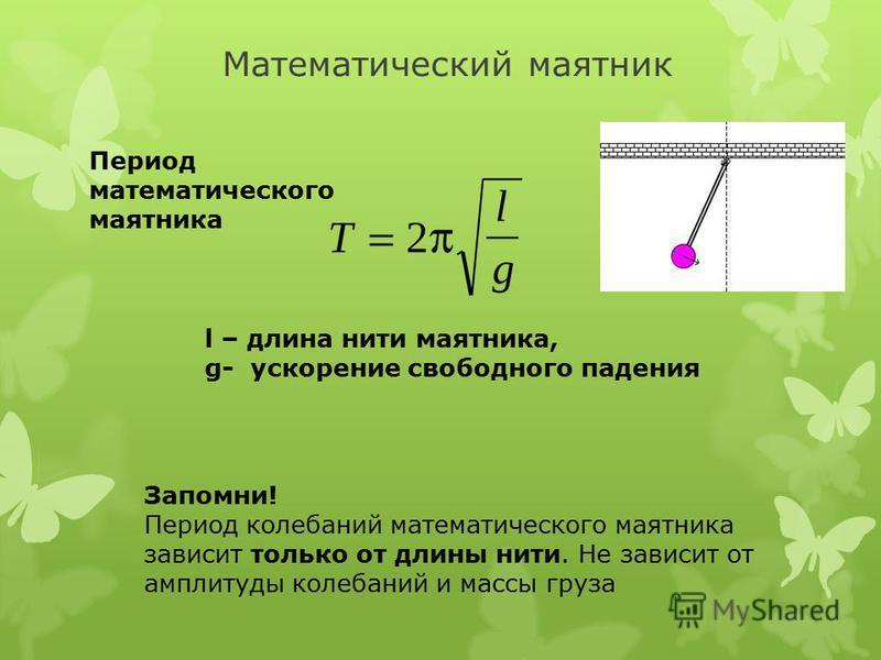 Математический маятник Период математического маятника l – длина нити маятника, g- ускорение свободного падения Запомни! Период колебаний математического маятника зависит только от длины нити. Не зависит от амплитуды колебаний и массы груза