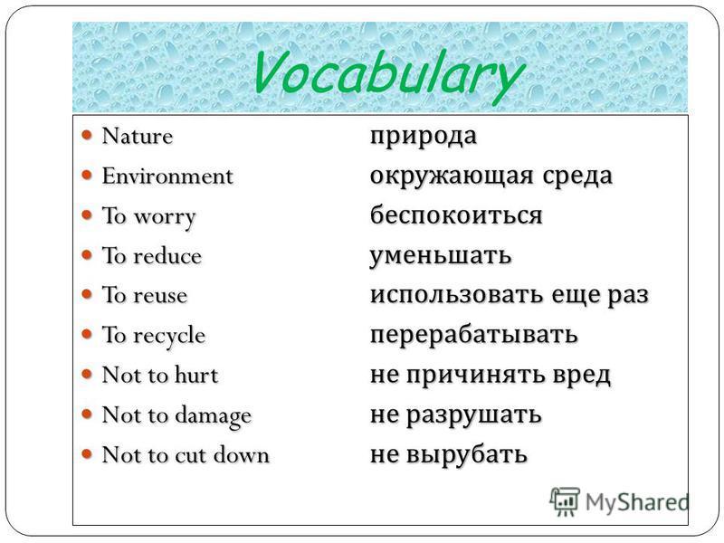 Vocabulary Nature природа Nature природа Environment окружающая среда Environment окружающая среда To worry беспокоиться To worry беспокоиться To reduce уменьшать To reduce уменьшать To reuse использовать еще раз To reuse использовать еще раз To recy