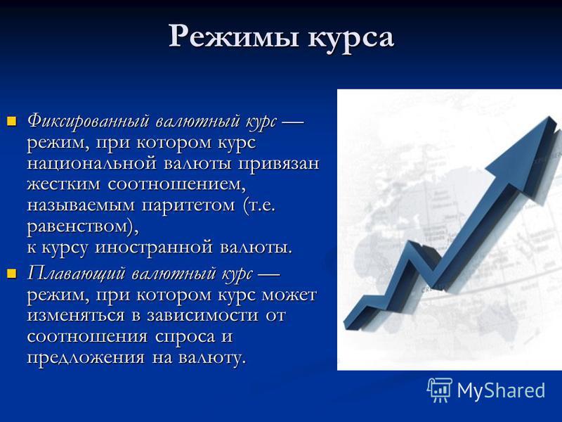Режимы курса Фиксированный валютный курс режим, при котором курс национальной валюты привязан жестким соотношением, называемым паритетом (т.е. равенством), к курсу иностранной валюты. Фиксированный валютный курс режим, при котором курс национальной в